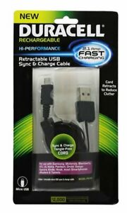 """DURACELL PRO Retractable Micro USB SYNC & CHARGE CABLE 31"""" Long (PRO391)"""