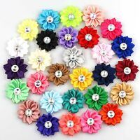 "15/30Pc 1.5"" Crystal Bead Appliques satin ribbon flowers bows Craft DIY Wedding"