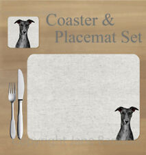 Whippet,  placemat and coaster set    by Jane Bannon