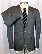 NWT ISAIA Gregory Charcoal Super 150's Aqualight Flat Front Suit 50 40 40R $3895