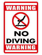 No Diving Sign Swimming Pool Sign DURABLE No Rust Aluminum Bright color HI GLOSS