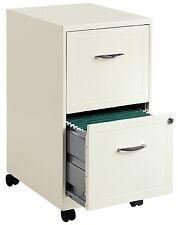 White File Cabinet 2-Drawer Rolling Locking Filing Metal Steel Office Furniture
