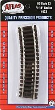 "Atlas (HO-Scale) #533 Code 83 NICKLE SILVER Curved Sections - 1/2-18"" Radius NIB"