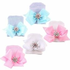 Cute Newborn Baby Hats Big Bow Knot Diamond Stripe Toddler Knit Cap Infant Hat