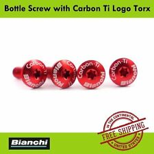 BIANCHI Bottle Screw (Set of 4) with Carbon Ti Logo Torx - Red Color x 4pcs