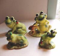 Vintage Josef Mr & Mrs Green Frog Family of Four Mushrooms & Ladybugs