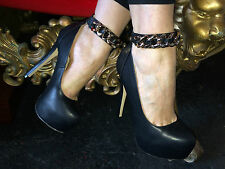 """*REDUCED* Office Secretary Platform Shoes Chunky Gold Chains Sexy Thin 6"""" Heels"""