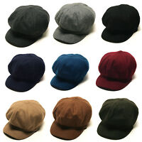 Unisex Mens Womens Wool Uni Plain Baker Boy Flat Cap Newsboy Cabbie Gatsby Hats