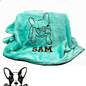 French Bulldog Hand Made Embroidered Personalised Dog Blanket 9 Colours