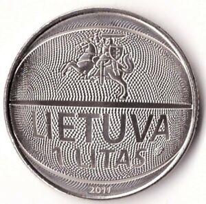 1 Litas 2011 Lithuania Coin KM#177 European Basketball Championship