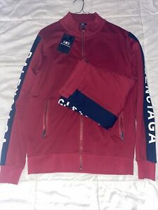 RED BALENCIAGA TRACKSUIT TOP AND BOTTOMS FULL ZIP AND POCKETS SIZE S