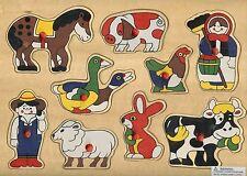 BRAND NEW WOODEN FARM ANIMALS  PIN PUZZLE-GR8 GIFT IDEA