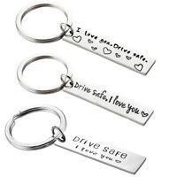 "2x Keyring Keychain For Husband Boyfriend Girlfriend ""Drive Safe I Love You"" HQY"