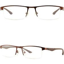 Breite Herren Brille Brillengestell Titan Metall Fassung Leicht Halbrand Braun