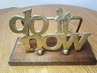 DO IT NOW Brass and Wood Letter Mail Holder Bills Files Desk Office MCM Vintage