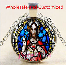 Christ Jesus Stained Cabochon Tibetan silver Glass Chain Pendant Necklace #4588