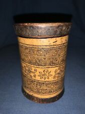 Antique Bamboo Brush/Medicine Pot with Lid. Very Crude Carving. China/ Oceania.