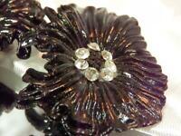 Vintage 1970's Large Black Plastic Rhinestone Clip Earrings 78M9