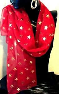 Scarf / Kaftans Accessories/ Reversible / Red with Gold Stars / RR$39.95