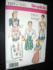 Vintage 1940s Aprons New Simplicity 1221 Pattern Sizes 10-20