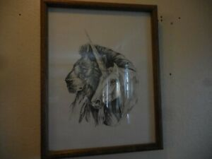RARE Ink or Pencil Drawing of Fantasy drawing of Unicorn and Lion by M. Pena 80'