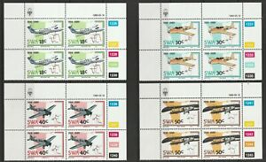 South West Africa 1989 75th Anniv of Aviation in SWA Set in UM Blocks of 4