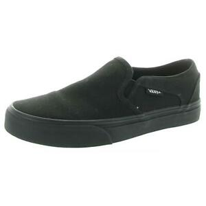 Vans Womens Black Leather Fashion Sneakers Shoes 7 Medium (B,M) BHFO 4138