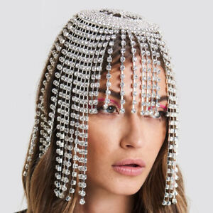 Boho Women Silver Wedding Headdress Headband Head Band Chain Headpiece Jewelry