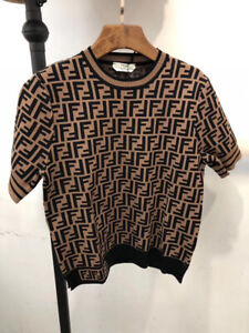 Authentic New Fendi Short Sleevel Sweater  Size 36 S Brown Logo FF Top