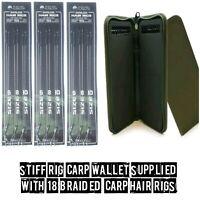 18 X HAIR RIGS + GREEN RIG WALLET INC 20 PINS  CARP HOOKS FISHING TACKLE