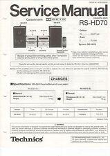 Service Anleitung Manual Heft Technics RS-HD70 Cassette Deck (B673)