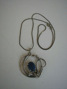 Vintage Sterling Silver Necklace with Blue Lapis Stone
