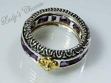 Barbara Bixby Sterling Silver 18k Gold Amethyst Channel-set Ring Size 7