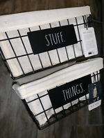 """Set Of 2 Rae Dunn """"STUFF"""" & """"THINGS"""" Black Wire Linen Lined Nested Baskets NEW"""