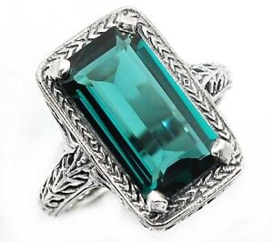 7CT Apatite 925 Solid Sterling Silver Vintage Art Ring Jewelry Sz 8 FL10