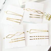 Women Gold Color Geometric Hairpin Barrettes Metal Hair Clip Rhombus Hairgrip