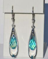 Echt 925 Sterling Silber Ohrringe SWAROVSKI ELEMENTS aquamarine shimmer Nr 337