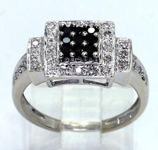 Diamond geometric ring 14K gold 37 white black round brilliants .55CT 4 GM sz 7
