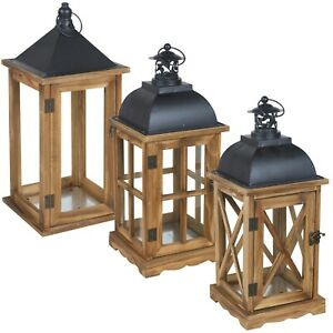 Traditional Classic Brown Wooden Candle Light Tea Light Holder Lantern Décor