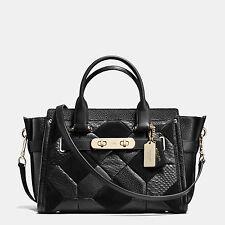 NWT COACH Patchwork Pebble Leather Swagger Handbag Satchel Black 36004 Gold $695