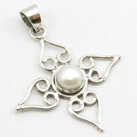 """Sterling Silver Pearl Celtic Pendant for Necklace 1.7"""" Latest Style"""