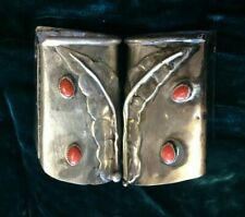 Vintage Navajo BOOT HEEL CAPS Sterling & Coral STAMPED Mid Century RARE