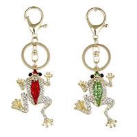 EB_ BH_ Creative Rhinestone Frog Keyring Keychain Car Key Holder Bag Pendant Gif