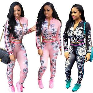 New Womens Floral Sport Coat Pants Tracksuit Sweatshirt Sweat Suit Jogging Set