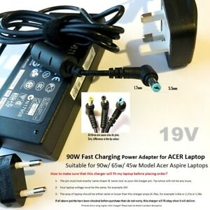 90W Laptop Charger for Acer Aspire Power Supply Adapter 5.5mm x 1.7mm Tip
