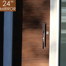 "Pull Push 24"" Handles for  Entrance Entry Front Door, Tubular Rectangle, Mirror"