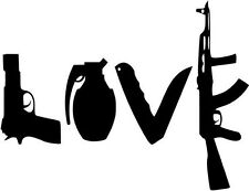 "Love Gun Grenade Car Window Decor Vinyl Decal Sticker- 6"" Wide White"