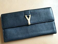 Auth Yves Saint Laurent YSL Black Leather CHYC Continental Long Bifold Wallet