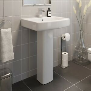 Modern Bathroom Square Basin Sink Full Pedestal Single Tap Hole White Ceramic