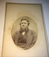 Antique American Civil War Era Bearded Man, Tinted Cheeks! Tax Stamp! CDV Photo!